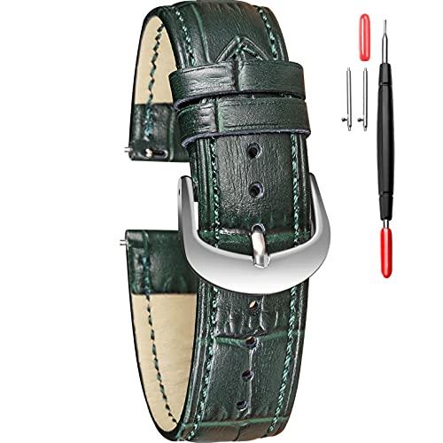 Correa de piel para reloj con relieve de cocodrilo, 16 mm, 18 mm, 20 mm, 22 mm, con hebilla plateada