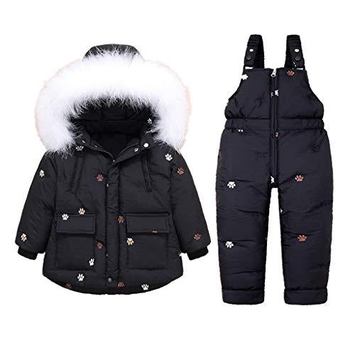 Vine Bambino Tuta da Sci Piumino con Cappuccio + Pantaloni da Sci Bambini 2 Pezzi Invernale Tuta da Neve Completo Salopette da Sci Caldo Giacca Cappotto Snowsuit, 2-3 Anni