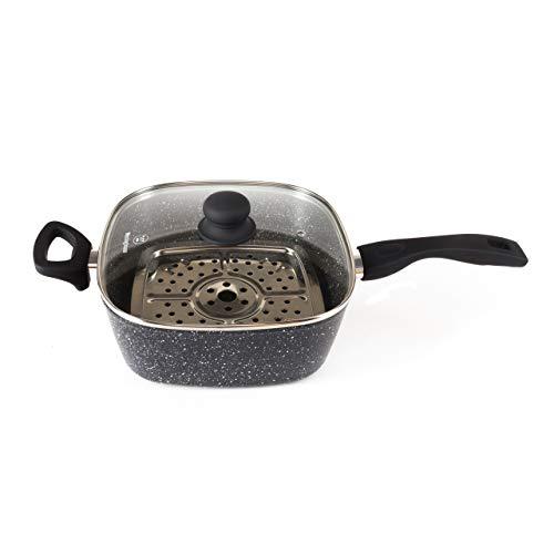 Westinghouse Black Marble Steaming/Frying 4-delige Deep Pan Set - Ø 24 cm - Anti-aanbaklaag met zwarte handgrepen en een glazen deksel - Inductie/Gas/Elektrische kookplaat