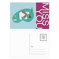 漫画の動物の植物 ポストカードセットサンクスカード郵送側20個ミス