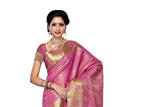 Women's Tussar Silk Saree with Blouse,Color:Pink(3192-178-PINK)