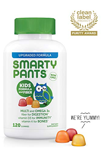 SmartyPants Kids Formula & Fiber Daily Gummy Multivitamin: Vitamin C, D3, & Zinc for Immunity, Gluten Free, Omega 3 Fish Oil (DHA/EPA), Vitamin B6, Methyl B12, 120 Count (30 Day Supply)
