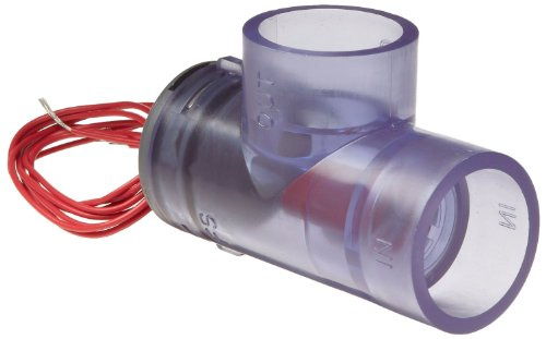 Gems Sensors 135810 FS-400P Series PVC Flow Switch, Elbow, Shuttle Type, 0.5 gpm Flow Setting, 3/4