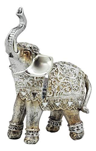 ShopForAllYou Figurines and Statues Silver Elephant Figurine with Glass Mirrors 6' H Home Decor (Left Facing)