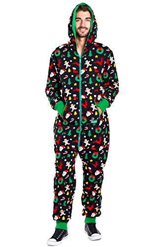 Men's Cozy Christmas Onesie Pajamas - Black Holiday Cookie Cutter Adult Cozy Jumpsuit : Large