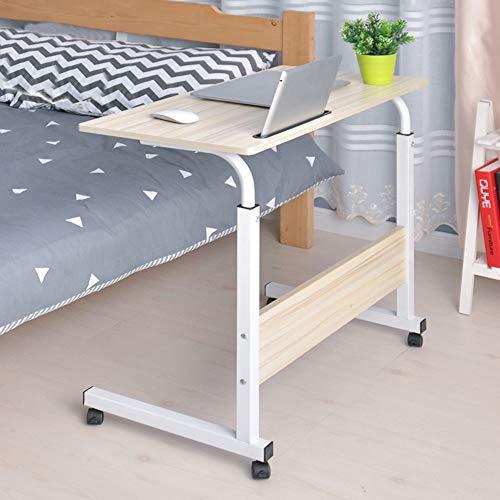 Tavolo da lettura laterale del letto da scrivania portatile regolabile in altezza,Tavolo Laptop con Ruote,Compatto Tavolo per PC Notebook ,Tavolino per caffè,80,2 x 40 x 71,5-91 cm (legno bianco)