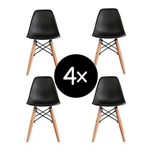 Krok Wood 4-er Set Dominik Esszimmerstuhl Wohnzimmerstuhl Bürostuhl, Kunststoff Stühl (Schwarz)