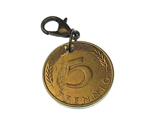 Miniblings 5 Pfennig Münze Charm BRD Deutsche Mark Geld - Handmade Modeschmuck I Kettenanhänger - Bettelanhänger Bettelarmband - Anhänger für Armband