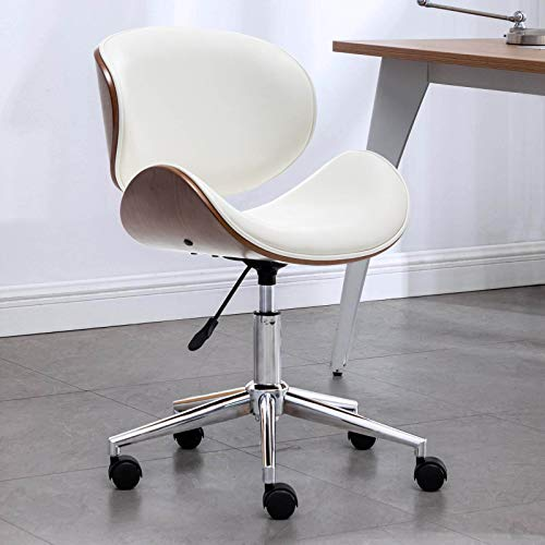 OKAKOPA Home Office Chair Ergonomic Desk Chair, Modern Leather Mid Back Support 360° Swivel Rolling Wheels Computer Chair Armless Chair w/Adjustable Height Chair for Adults (White)