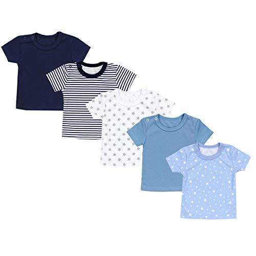 TupTam Baby Unisex Kurzarm T-Shirt Sterne Streifen 5er Set, Farbe: Mehrfarbig 2, Größe: 56