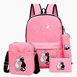 Sky Blue 4pcs Women Backpack Cat Printing Canvas School Bags for Teenager Girls Preppy Style Rucksack Mochila Waterproof Bags