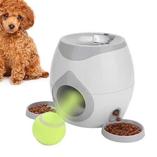 Dogs Interactive Ball Launchers Thrower Pet Automatic Tennis Throwing Machine Fun Food Dispenser Food Dispensing Reward Game Toys Dog Pet Slow Feeder Puzzle Launcher with Removable Plate