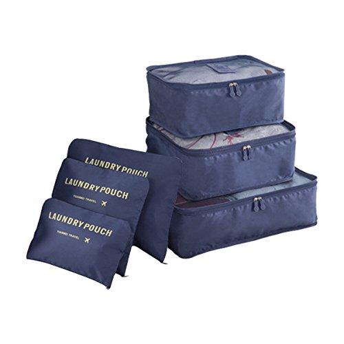 COOJA Set de 6 Travel Organizers 3 Packing Cubes + 3 Bolsas, Impermeable Organizador de Viaje para Maletas Bolsa Equipaje para Ropa Sucia Zapatos Maquillaje (Azul Oscuro)
