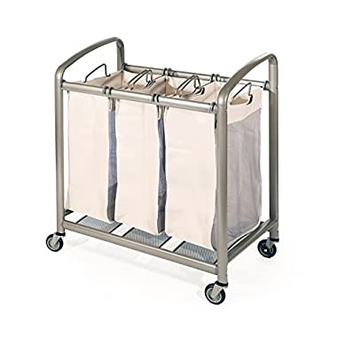 Seville Classics Deluxe Mobile 3-Bag Heavy-Duty Laundry Hamper Sorter Cart
