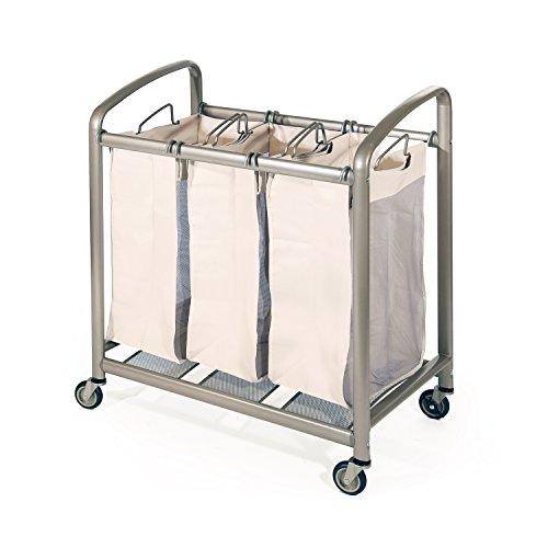 Seville Classics Deluxe Mobile 3 Heavy-Duty Laundry Hamper Sorter Bag Cart, Champagne