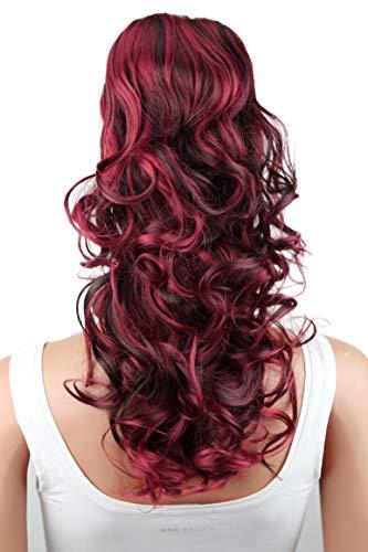 PRETTYSHOP 45cm Haarteil Zopf Pferdeschwanz Haarverlängerung Voluminös Gewellt Schwarz Rot Mix PH38
