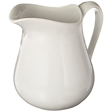 HIC Harold Import Co. HIC Creamer Pitcher with Handle, Fine White Porcelain, 16-Ounces