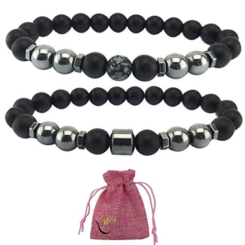 2 Stück Anti-Schwellung schwarze Obsidian-Knöchelkette, einstellbare Gewichtsabnahme Magnet-Knöchelkette entlastet Stress Angst entfernen Kopfschmerzen Abnehmen Gesundheitswesen Hämatitperlen-Armband