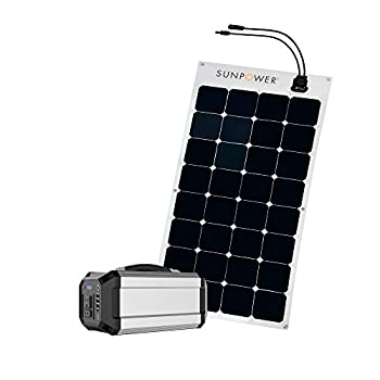 ExpertPower Alpha300 Solar Power Station with 100W SunPower Flexible Solar Panel kit for Camping Power Supply and Emergency Backup