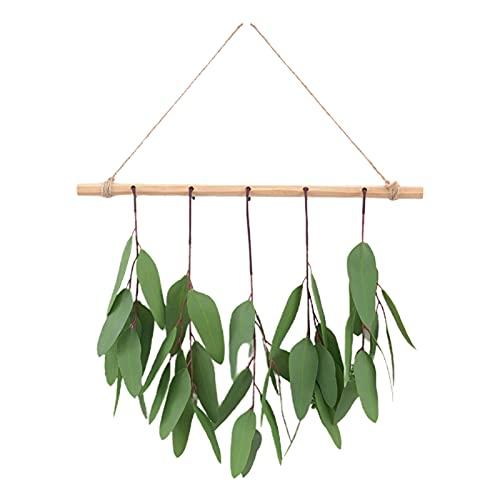 PINBinyee Plantas artificiales para interiores en macetas, hojas artificiales realistas para colgar, diseño de plástico, bonito para combinar con hojas de eucalipto para el hogar, 40 cm, 3