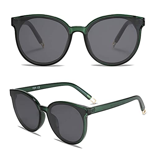 SOJOS Fashion Round Sunglasses for Women Men Oversized Vintage Shades SJ2057, Clear Green/Grey