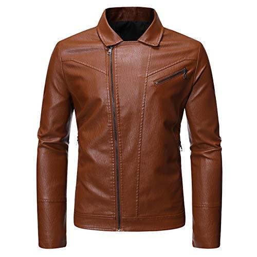 Mr.BaoLong&Miss.GO Autumn And Winter Men Jackets Men Motorcycle Leather Jackets European Size Trend Handsome Slim Men Leather Jacket Jackets Men European Size Solid Color Versatile Simple Jacket Tops