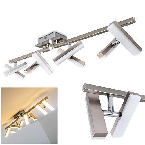 LED Deckenleuchte Sakami, längliche Deckenleuchte aus Metall in Nickel-matt, 8-flammig, mit 8 verstellbaren Strahlern, je 2 Watt, 1400 Lumen insgesamt, Lichtfarbe 3000 Kelvin (warmweiß)