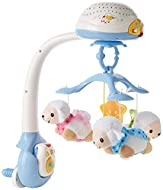 LULLABY LAMBS MOBILE: Featuring three soft, cuddly sheep with cute smiling faces that dangle from the mobile and spin around as the mobile projects. This baby soother has a detachable design which allows you to use it with most cots and play pens or ...