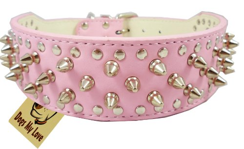 OrangeTag 19'-22' Pink Faux Leather Spiked Studded Dog Collar 2' Wide, 37 Spikes 60 Studs