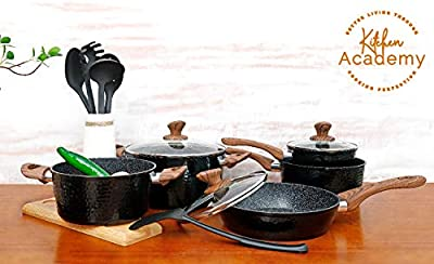 Kitchen Academy 15 Piece Nonstick Granite-Coated Cookware Set Suitable for All Stove Including Induction - Wooden Handle?Soft Touch?Dishwasher Safe - Black Hammered Style