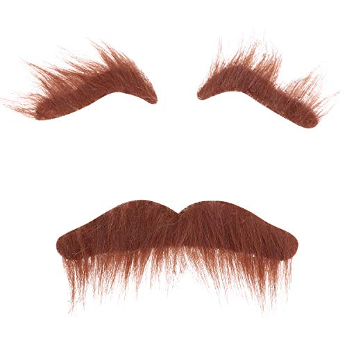 TINKSKY Novelty Costumes Self Adhesive Fake Eyebrows Beard Moustache Kit Facial Hair Cosplay Props Disguise Decoration for Masquerade Costume Party (Brown)