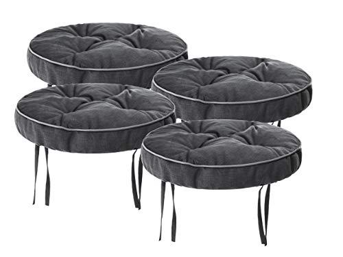 Juego de 4 cojines para silla de 38 x 38 cm – Cómodos cojines de 10 cm para silla, banco y taburete, cojines acolchados para sillas de comedor y bancos gris Fancy