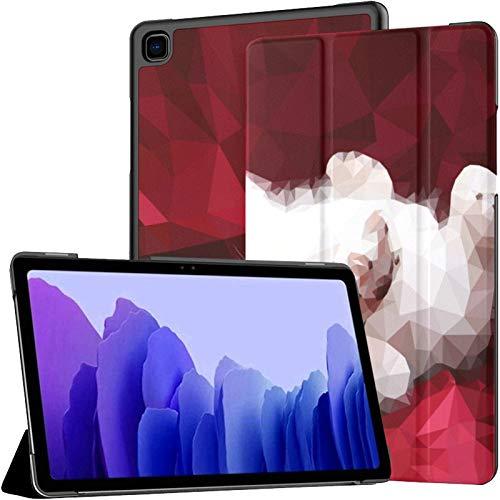 Funda de piel sintética para Samsung Galaxy Tab A7 de 10,4 pulgadas, diseño de gatito, color rojo y blanco