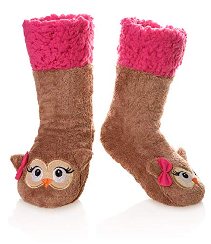 Kid Boy Girl Soft Thick Warm Slipper Socks Winter Fleece Lined Fuzzy Christmas Stocking For Child Toddler Home Socks(Owl,5-8 Years)