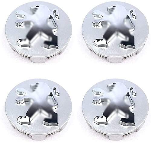 4 Piezas Tapas centrales para llantas Para Peugeot 108 208 2008 308 3008 4008 508 5008 Rifter 307 505 406 1007 4007,Aleación de aluminio Cubierta Centro Rueda Coche,Tapacubos Tapa Prueba Polvo,60mm