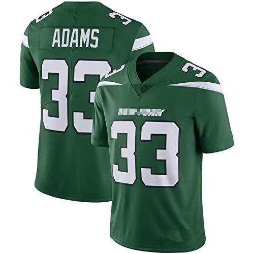ILHF Men's Adams # 33 Jets Rugby Jersey, Fútbol Jersey Manga Corta Sport Top Cómoda Camiseta Transpirable Camiseta,Verde,S