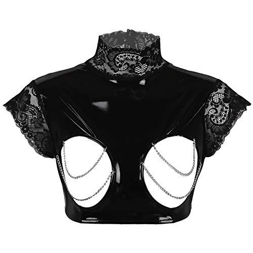 Aislor Ouvert BH Crop Top Damen Offene Brust Dessous Bustier Wetlook Body Bikini Bra Brust Harness Erotik Unterhemd Clubwear Schwarz L