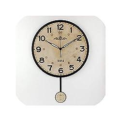 Silent Large Decorative Wall Clock Vintage Round Wall Clock Home Decor Home Wall Watches,Style 4,14 Inch