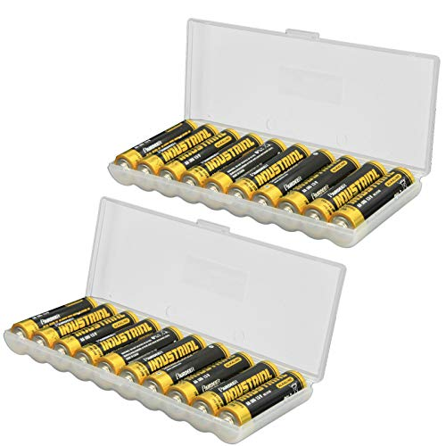 Whizzotech AA Battery Storage Case Battery Holder Organizer Box Holds 10 AA Batteries, 2 Pack