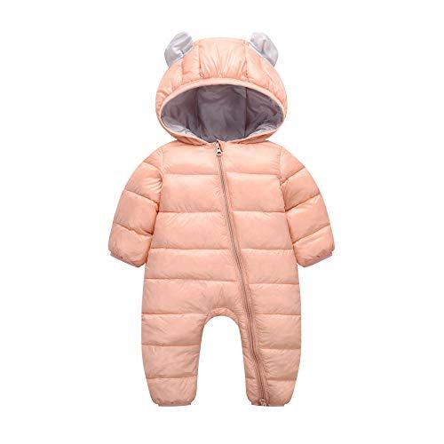 Kobay Kobay Baby Jungen Mädchen Kinder Strampler Kinder Winter Dicke Winter Warme Overall Oberbekleidung(0-6M,Rosa)