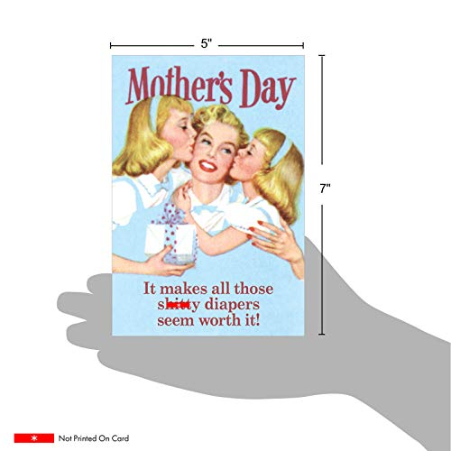 NobleWorks - Funny Vintage Mothers Day Greeting Card - Retro Notecard for Mom or Stepmom - Sh-tty Diapers Worth It 7396 Photo #4