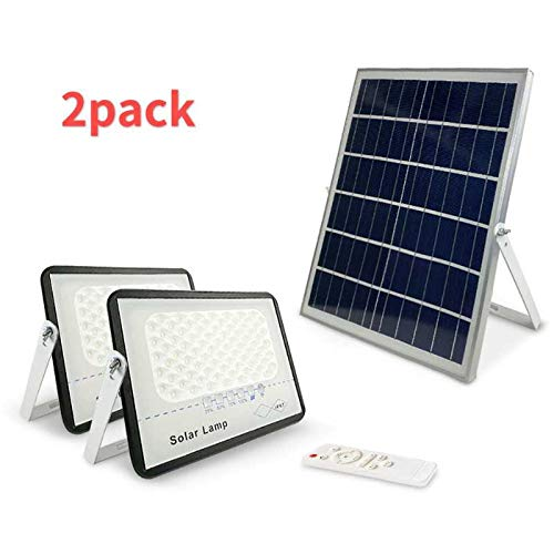 2 Pack 100W LED Solar Flood Lights Outdoor with Remote,Dusk to Dawn Solar Security Street Light Waterproof IP67 for Fence,Garden,Pool,Barn,Lawn,Flag Pole