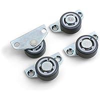Design61 Jeu de 4roulettes fixes, roulettes latérales pour parquet, pour meuble, 30x 14mm, avec surface de roulement souple
