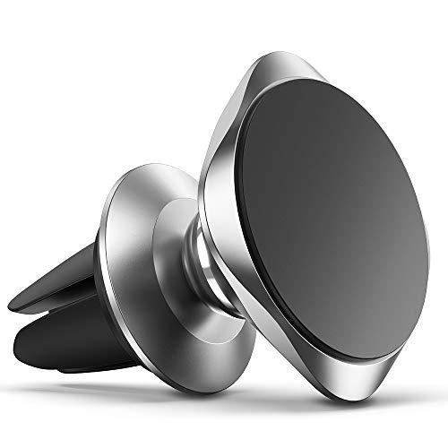 Warxin Soporte Movil Coche Magnético, Iman Móvil Coche Soporte para Ventilación Teléfono Soporte 360 Grados Rotación Universal con Rejillas del Aire para iPhone Samsung Huawei Smartphone-(Plata)