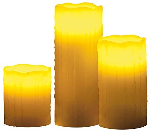 Lunartec LED Kerzen Set: LED-Echtwachskerzen mit Candle-LED & Funk-Fernbedienung, 3er-Set (LED Wachskerzen mit Fernbedienung)