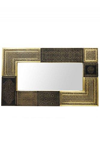 Orient Spiegel Wandspiegel Sahra 100cm groß Gold | Großer Marokkanischer Flurspiegel mit Holzrahmen orientalisch verziert | Orientalischer Vintage Badspiegel ohne Beleuchtung als Orientalische Deko