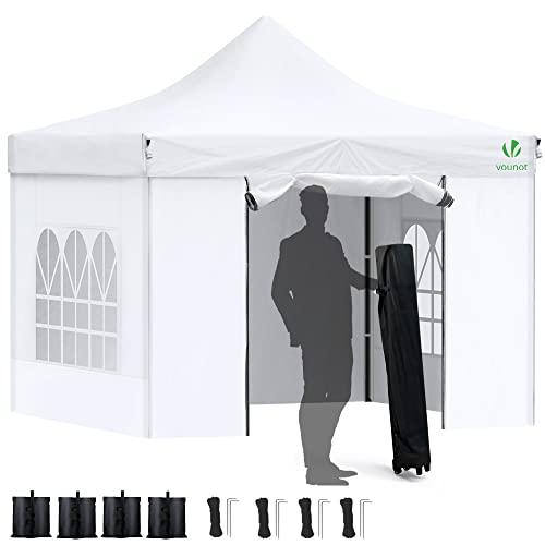 VOUNOT Carpa Plegable Gazebo 3x3m con 4 Paredes, Cenador Impermeable Pabellón de Jardín para Camping, Fiestas, Exterior, Color Blanco
