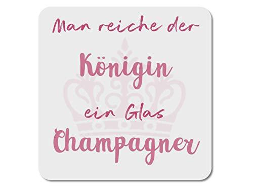 Interluxe LED Untersetzer - Man reiche der Königin EIN Glas Champagner (rosé) - leuchtende Glasdeko für Sekt, Prosecco
