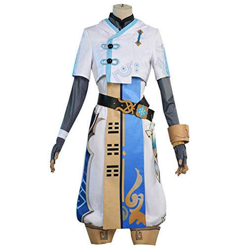 BMDHA Chongyun Cosplay Costume Genshin Impact Cosplay Game Outfit Full Set Clothing Suit,M