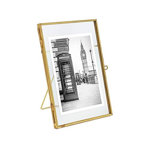Isaac Jacobs 4x6, Antique Gold, Vintage Style Brass and Glass, Metal Floating Picture Frame (Vertical) with Locket Closure, for Photos, Art, More, Tabletop Display (4x6 Antique Gold)
